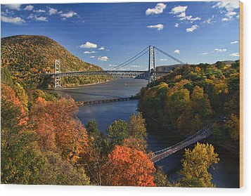 The Hudson River Valley In Autumn Wood Print by June Marie Sobrito