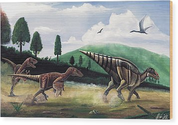 The Hunters - Balaur Bondoc And Telmatosaurus Transylvannicus Wood Print by Mihai Dumbrava
