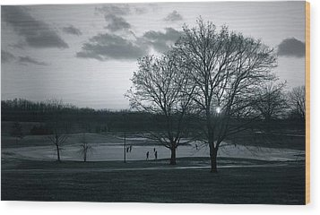 The Ice Skaters...kirby Park Pond Kingston Pa. Wood Print by Arthur Miller