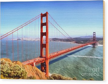 The Iconic San Francisco Golden Gate Bridge . 7d14507 Wood Print by Wingsdomain Art and Photography