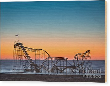 The Iconic Star Jet Roller Coaster Wood Print by Michael Ver Sprill