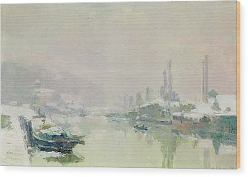 The Ile Lacroix Under Snow Wood Print by Albert Charles Lebourg