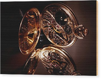 The Inner Working Of Clock Wood Print