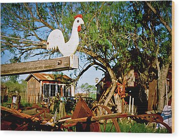Wood Print featuring the photograph The Iron Chicken by Linda Unger