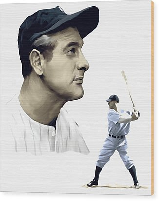 The Iron Horse  Lou Gehrig Wood Print by Iconic Images Art Gallery David Pucciarelli