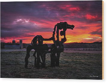 The Iron Horse Sun Up Wood Print by Reid Callaway