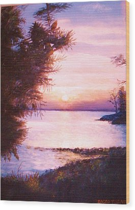 The James River At Twilight Wood Print by Anne-Elizabeth Whiteway