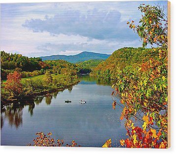 The James River Early Fall Wood Print by The American Shutterbug Society