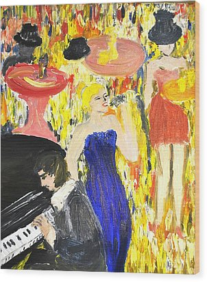 Wood Print featuring the painting The Jazz Singer by Evelina Popilian