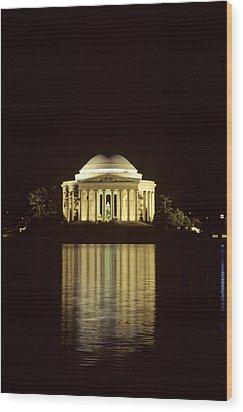 The Jefferson Memorial At Night Wood Print by Kenneth Garrett