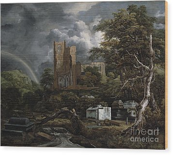 The Jewish Cemetery Wood Print by Jacob Isaaksz Ruisdael