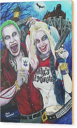 The Joker And Harley Quinn Wood Print