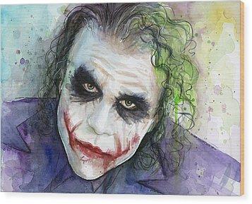 The Joker Watercolor Wood Print by Olga Shvartsur