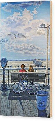 The Jones Beach Boardwalk Wood Print by Bonnie Siracusa