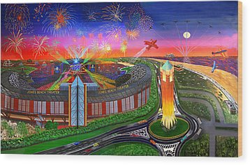 The Jones Beach Theatre With Fireworks Wood Print by Bonnie Siracusa