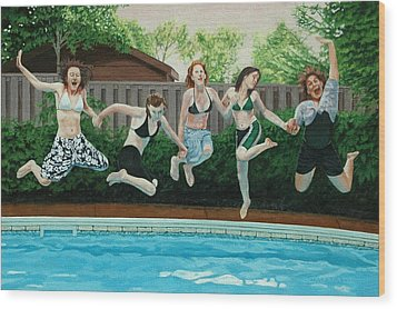 The Joy Of Girls Wood Print by Allan OMarra