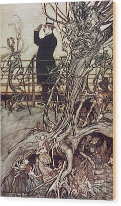 The Kensington Gardens Are In London Where The King Lives Wood Print by Arthur Rackham