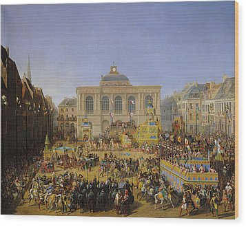 The Kermesse At Saint-omer In 1846 Wood Print by Auguste Jacques Regnier