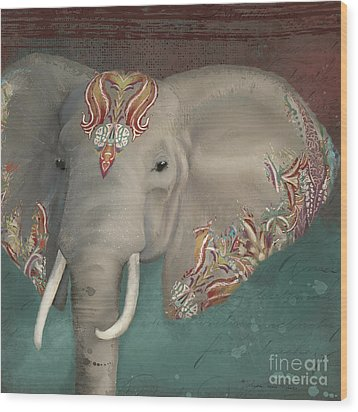 Wood Print featuring the painting The King - African Bull Elephant - Kashmir Paisley Tribal Pattern Safari Home Decor by Audrey Jeanne Roberts