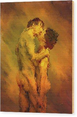 The Kiss Wood Print by Kurt Van Wagner