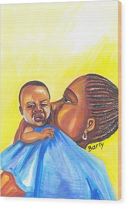 The Kiss Of A Mother In Senegal Wood Print