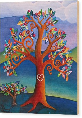 Wood Print featuring the painting The Kissing Tree by Lori Miller