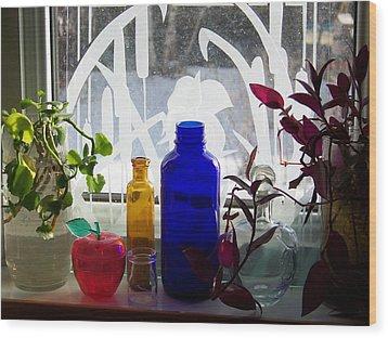 The Kitchen Window Sill Wood Print by Jackie Mueller-Jones