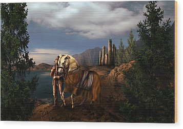 The Knight Of The Kingdom Wood Print by Virginia Palomeque