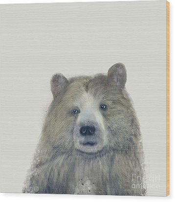 Wood Print featuring the painting The Kodiak Bear by Bri B