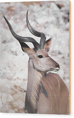 Wood Print featuring the digital art The Kudu Portrait by Ernie Echols