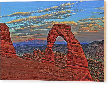 Wood Print featuring the photograph The La Sal Mountains And Arch by Scott Mahon