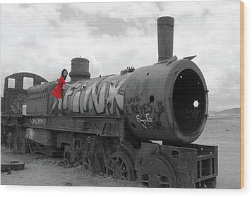 Wood Print featuring the photograph The Lady And The Train by Aidan Moran