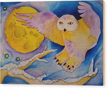 The Landing Of Snowy Owl Wood Print
