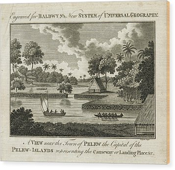 Wood Print featuring the drawing The Landing Place At Palau by ex Keats