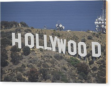 The Landmark Hollywood Sign Wood Print by Richard Nowitz