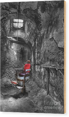 The Last Cut- Barber Chair - Eastern State Penitentiary Wood Print by Lee Dos Santos
