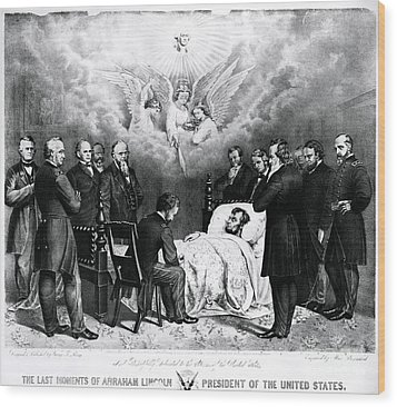 The Last Moments Of President Lincoln Wood Print by Photo Researchers
