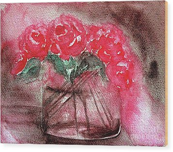 The Last Red Roses Wood Print