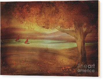 Wood Print featuring the digital art The Last Sail Of The Season  by Lois Bryan