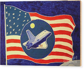 The Last Space Shuttle Wood Print by Bill Hubbard