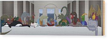 The Last Supper Of Raptor Jesus Wood Print by Greasy Moose