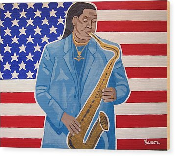 The Late Great Clarence Clemons Wood Print by Eamon Reilly