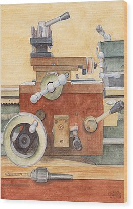 The Lathe Wood Print by Ken Powers