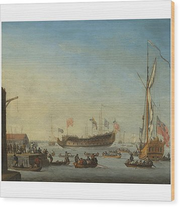 The Launch Of A Man Of War Wood Print by Robert Woodcock