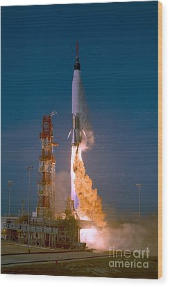 The Launch Of The Mercury Atlas Wood Print by Stocktrek Images