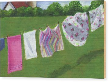The Laundry On The Line Wood Print by Joyce Geleynse