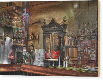 The Lazy Gecko Bar Key West Wood Print by Scott Bert