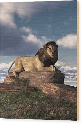 Wood Print featuring the digital art The Lazy Lion by Daniel Eskridge