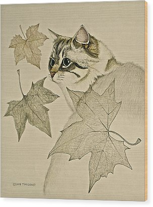 Wood Print featuring the drawing the Leaf Cat by Tim Ernst