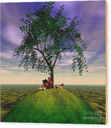 The Learning Tree Wood Print by Walter Oliver Neal